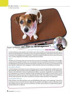 Préparer son chien au déménagement - article - Plus Magazine Octobre 2014
