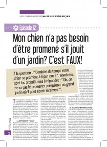 Mon Chien magazine - Un chien ne doit pas être promené si l'on a un jardin - Julie Willems - Comportementatliste canin
