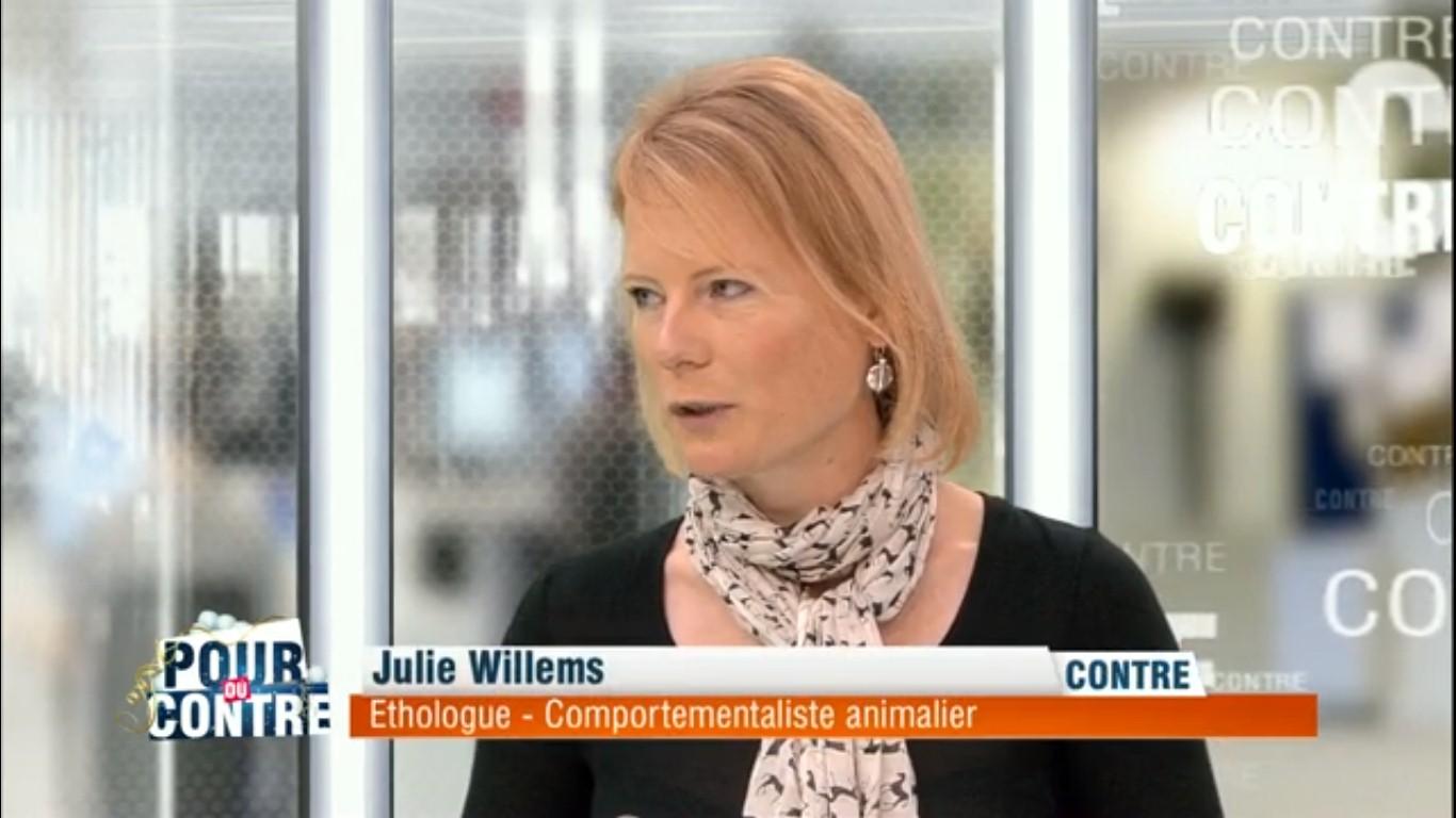 Emission Pour ou contre avec Julie Willems, éthologue-comportementaliste animalier