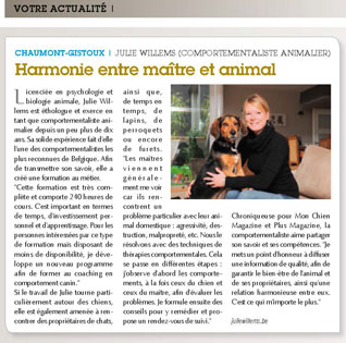 Harmonie entre maître et chien, interview de Julie Willems, comportementaliste animalier de Bxl