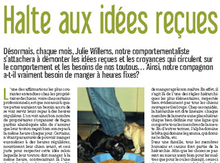 Un chien doit-il manger à heures fixes, document écrit par Julie Willems, comportementaliste canin à Bxl