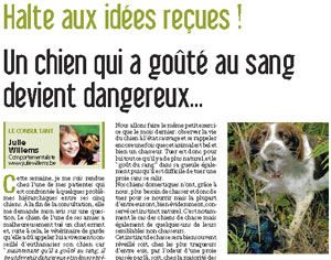 Chien qui a goûté au sang devient dangereux, document écrit par Julie Willems, comportementaliste canin Bxl