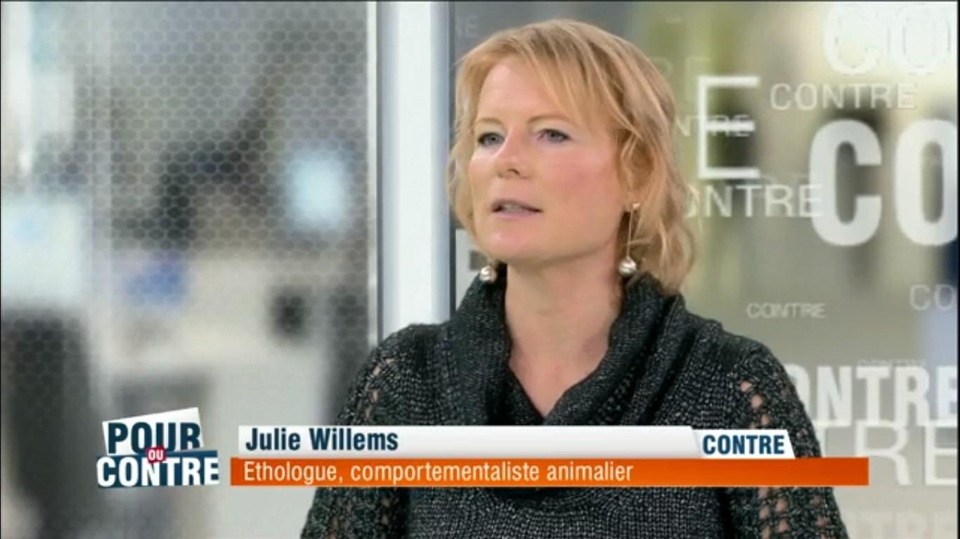 Emission Pour ou contre, avec Julie Willems, éthologue-comportementaliste animalier