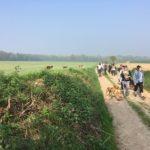 Bergers courant à travers les champs et cultures